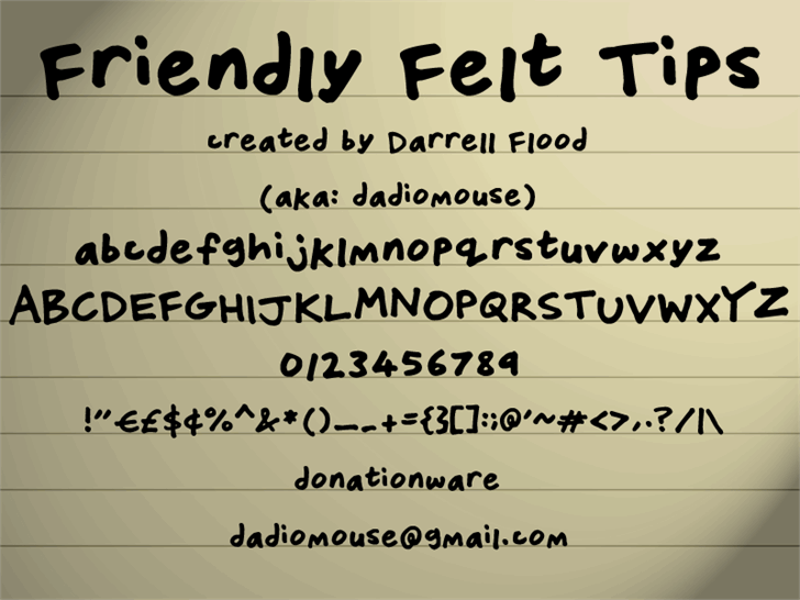 Friendly Felt Tips font英文script字体|otf/ttf格式